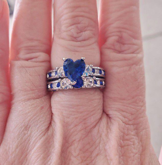 Blue Cz Stones Wedding Set.... Size 6.5/7