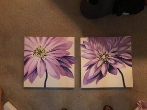 Canvas picture wall decor purple flower wall art for Sale in Alexandria, VA