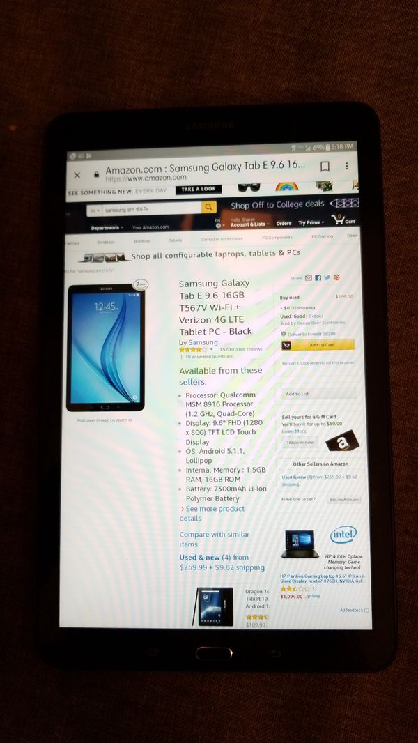 Samsung Galaxy Tab E 9 6 SM-T567V for Sale in Snohomish, WA - OfferUp