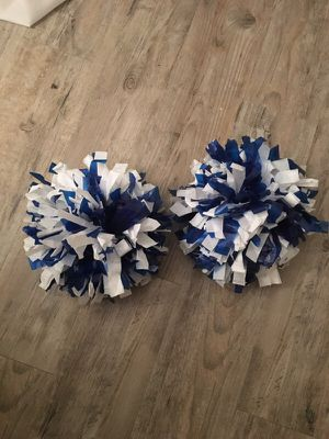Royal blue and white youth pom poms w/ handle and strap for Sale in Atlanta, GA