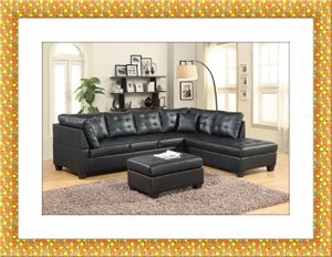 Black sectional with free ottoman and delivery for Sale in Hyattsville, MD