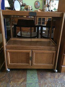 Vintage oak rolling bar serving microwave cart Thumbnail