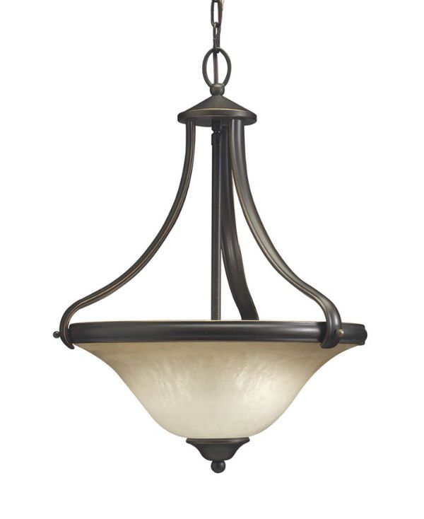 set of bronze light fixtures 5 glass chandelier and bell pendant