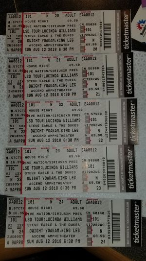 Five (5) Tickets to Lucinda Williams (LSD TOUR) for Sale in Nashville, TN