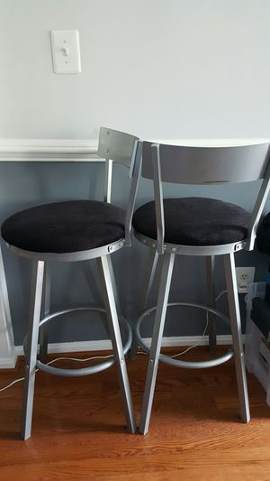 Modern Bar Stools, Black seat, Nickel Metal, Swivel Style for Sale in Gaithersburg, MD