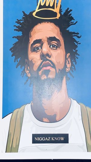 Photo J cole blue print and poster in glass frame