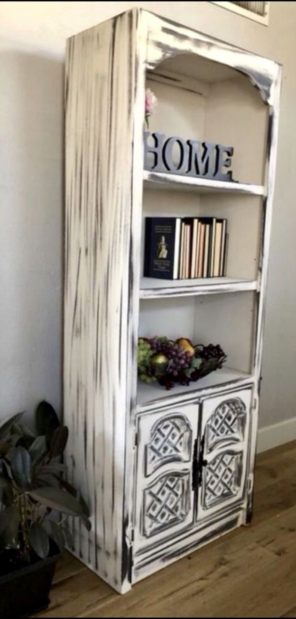 Refinished Distressed Look Solid Wood Bookshelf Furniture In Peoria AZ