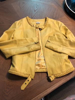 Yellow real leather jacket for Sale in Durham, NC