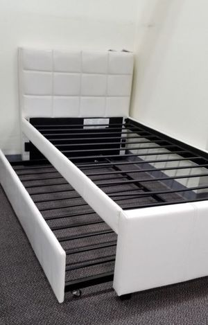 Brand New Twin Size White Leather Trundle Bed for Sale in Silver Spring, MD