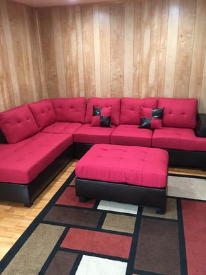 Brand new red linen sectional sofa with ottoman for Sale in Silver Spring, MD