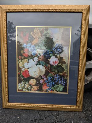 Floral gold art painting for Sale in McLean, VA