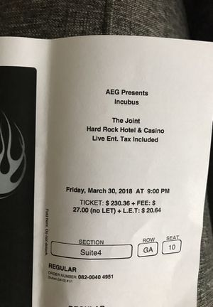 Incubus suite ticket for Sale in Las Vegas, NV