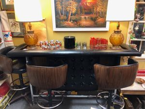 Retro Vintage Bar Set including Three Swivel Stools for Sale in Falls Church, VA