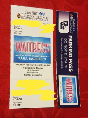 Waitress Broadway Show Ticket - Baltimore for Sale in Baltimore, MD