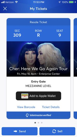 Cher tickets - St. Louis - Section 309, Row R, Seat 9,10,11 - $95 each for Sale in St. Louis, MO