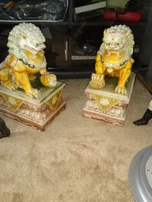 2 Lion dog status a little faded from the sun but other wise excellent condition for Sale in Alexandria, VA
