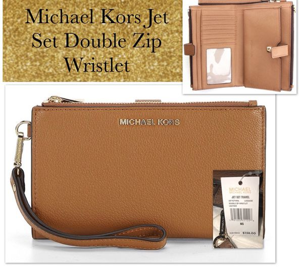 20cbcce91b44 NWT MICHAEL KORS LEATHER JET SET TRAVEL DOUBLE ZIP WALLET WRISTLET ...