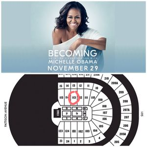 2 section 113 tickets to see our former 1st lady up close and personal for Sale in Upper Darby, PA