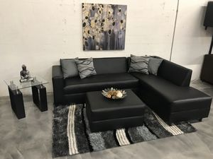 Black Sectional Sofa - Also Available in Other Colors for Sale in Hialeah, FL