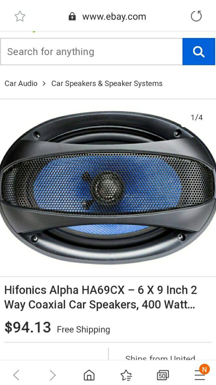 "BRAND NEW HIFONICS AlPHA 6x9"" COAXIAL SPEAKER WITH 400 WATT MAX POWER FIRM $75"