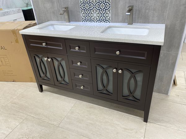 "60"" bathroom vanity sink and cabinet solid wood for Sale ..."