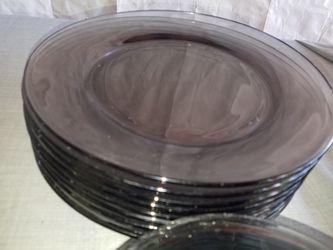 "Brown glass dinnerware 8 dinner plates 10 1/2"", 6 salad plates 7 3/8"" A126Z567 Thumbnail"
