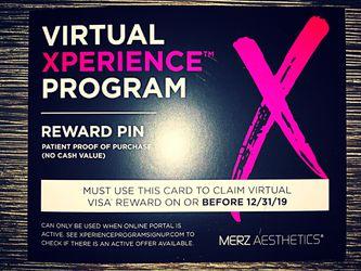 $50 Reward Pin Card - Merz Aesthetics Virtual Xperience Program Thumbnail