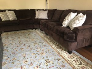 Brown Stain resistant fabric sectional - couch for Sale in Ashburn, VA