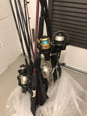 5 fishing poles + reels for Sale in Los Angeles, CA