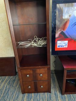 Furniture wall unit in good condition also dining room glass table with six chairs and three glass tables 500 cash Thumbnail