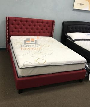 Brand New Queen Size Red Linen Platform Bed + Mattress for Sale in Silver Spring, MD