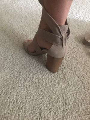5a8110028791 Nude suede lace heels. 8.5 best offer! for Sale in Huntersville