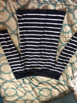 Navy blue striped off-the-shoulder sweater Thumbnail