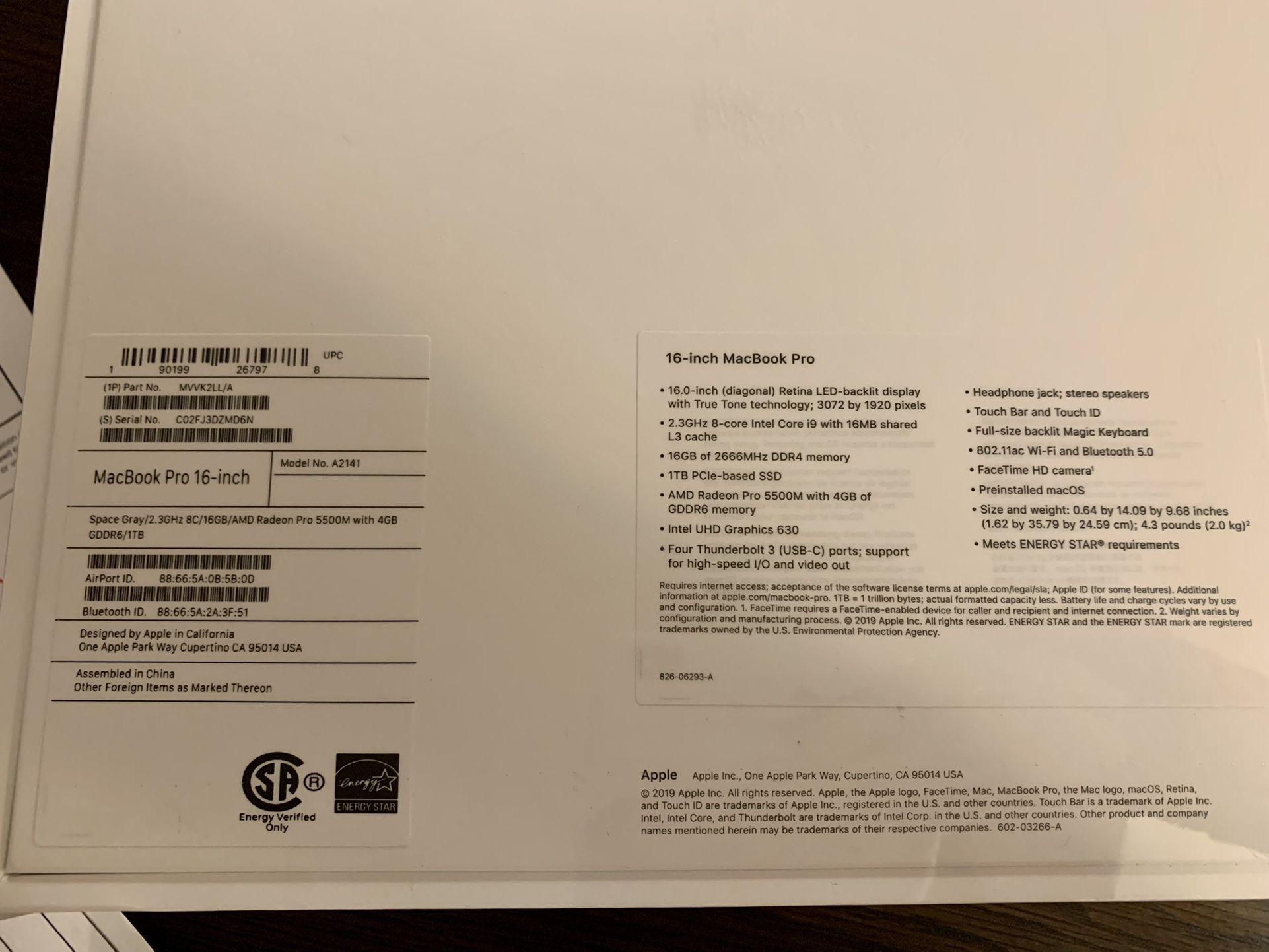Apple Macbook Pro 16-inch 1TB Space Grey