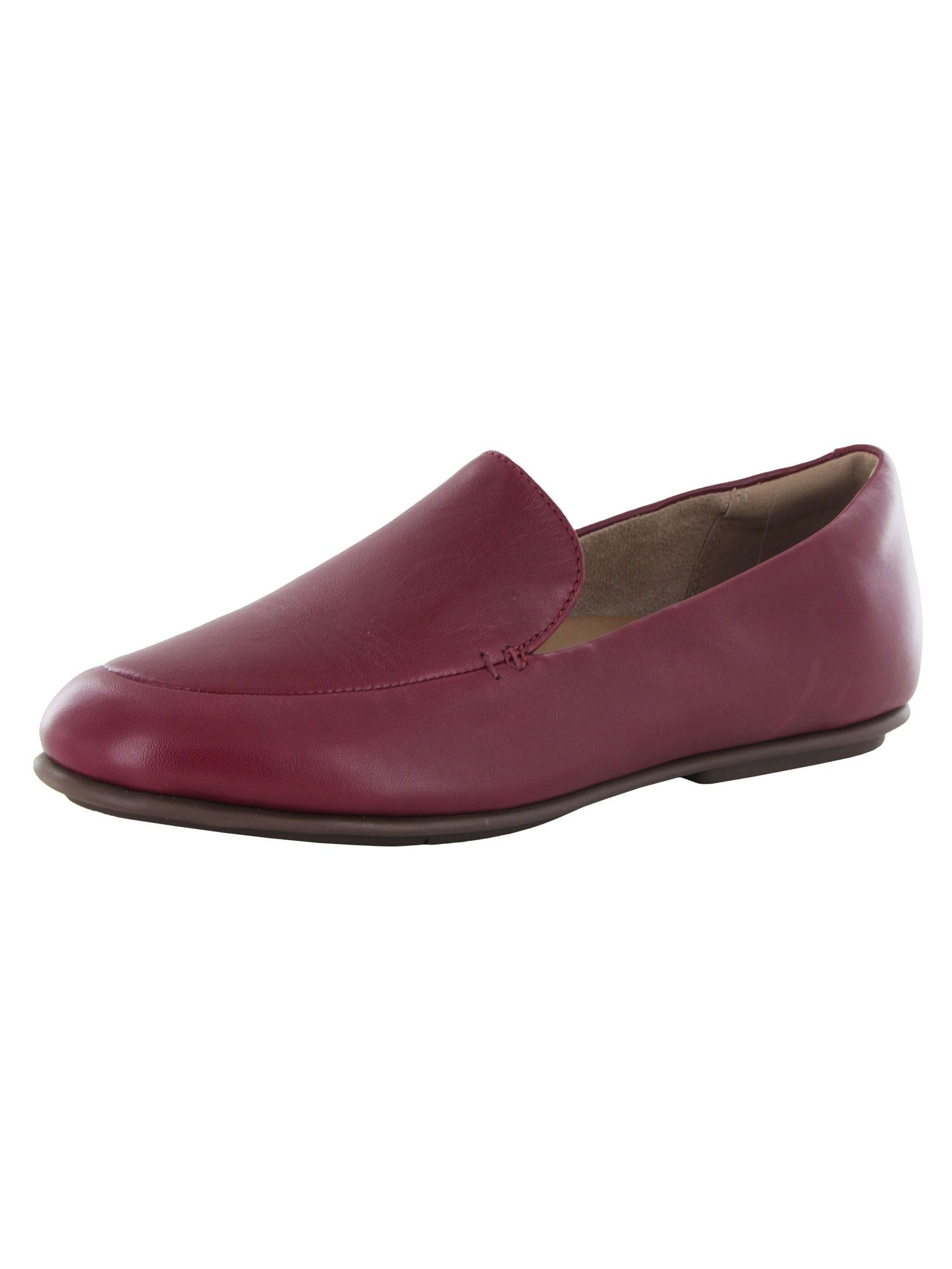 Fitflop Womens Lena Leather Slip On Loafer Shoes, Maroon, US 6.5