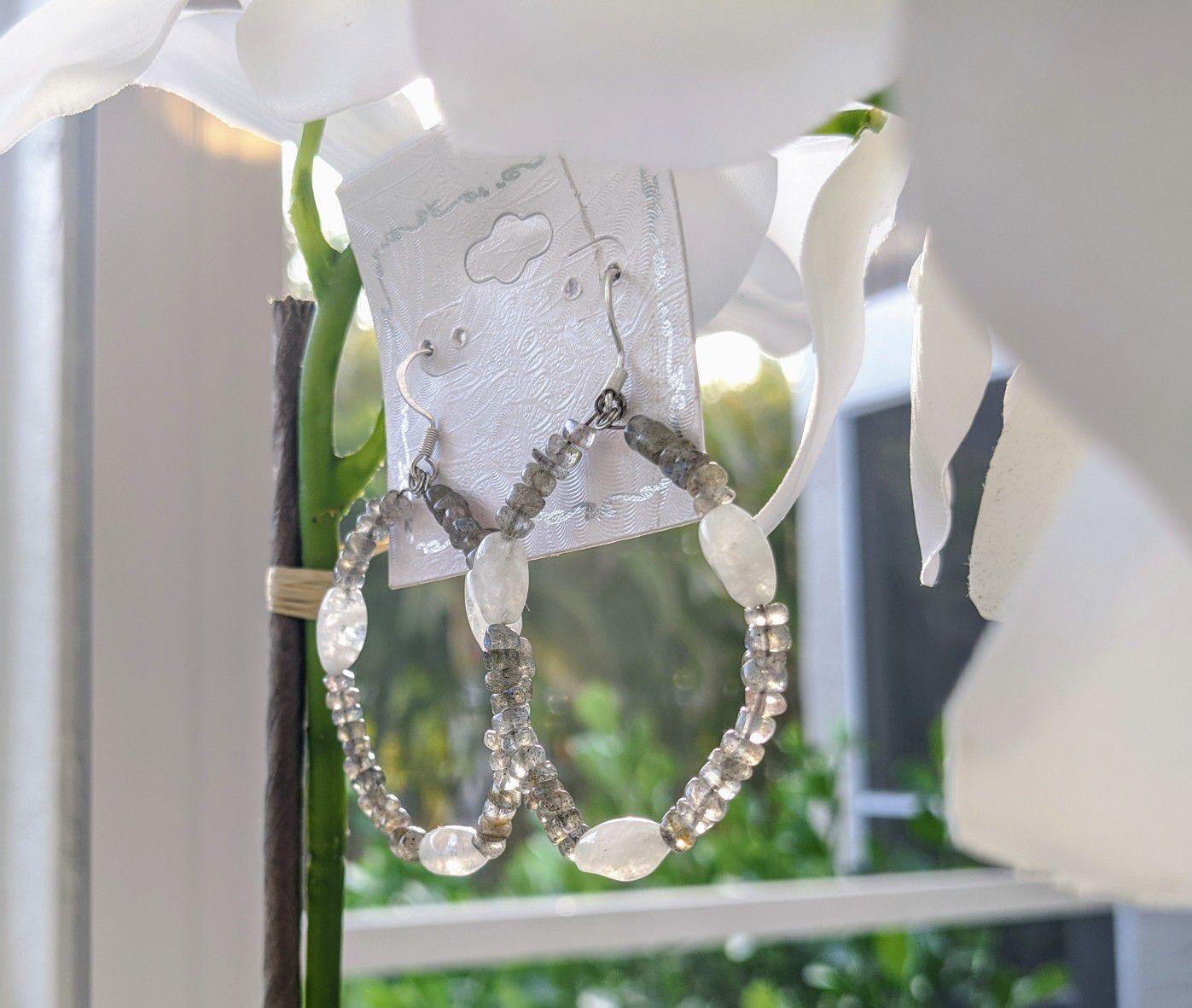 Labradorite & Moonstone Hoop Earrings