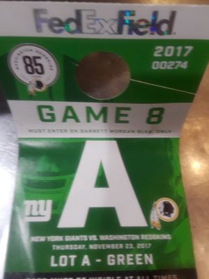 Giants at redskins parking ticket..green lot A for Sale in Washington, DC
