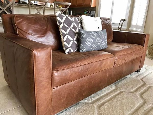 West Elm Henry Leather Sofa 76