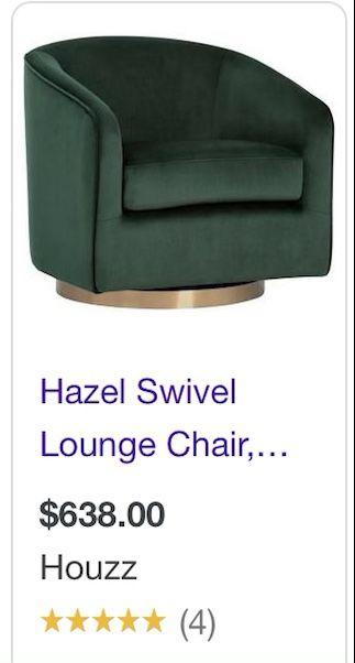 New! Deep Green Hazel Lounge Chair