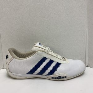 Photo Adidas Goodyear Mens Size 9.5 Driving Shoes Race Racing White Blue Leather Rare