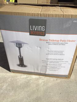 Living Accents 10,000 BTU Bronze Tabletop Propane Steel Patio Heater Thumbnail