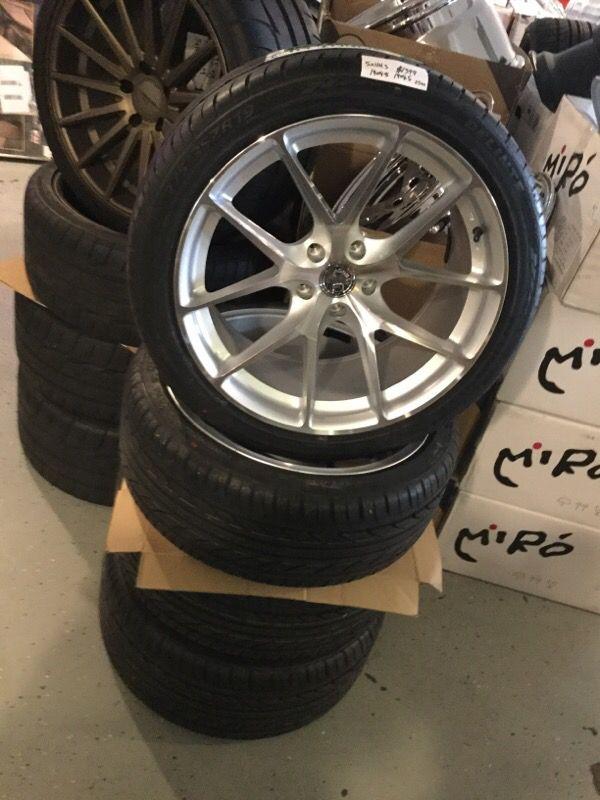 19x9.5-8.5 Staggered 5x114.3 Aodhan Wheels Polished Nissan Honda ...