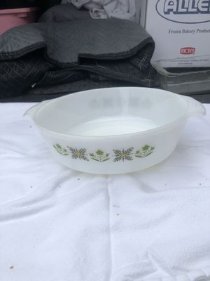 Photo Vintage Fire King Anchor Hocking Meadow Green Pattern, Glass Casserole Dish