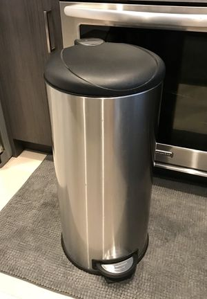 Trash Can (Simple Human Type; Black & Silver; Back Holding Handle; Foot Petal & Liner) for Sale in Washington, DC