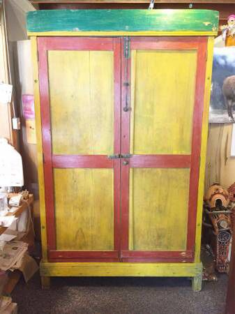Very Unique Old Hand Made Mexican Wood Painted Armoire ...