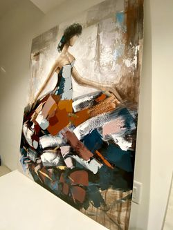 """Wall art painting on canvas girl with ballgown 47""""x35"""" Thumbnail"""