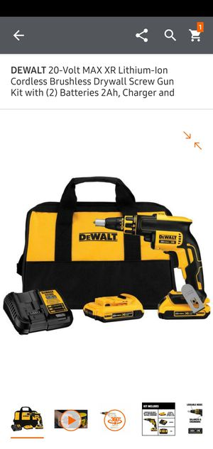 Photo DEWALT 20-Volt MAX XR Lithium-Ion Cordless Brushless Drywall Screw Gun Kit with (2) Batteries 2Ah, Charger and Contractor Bag