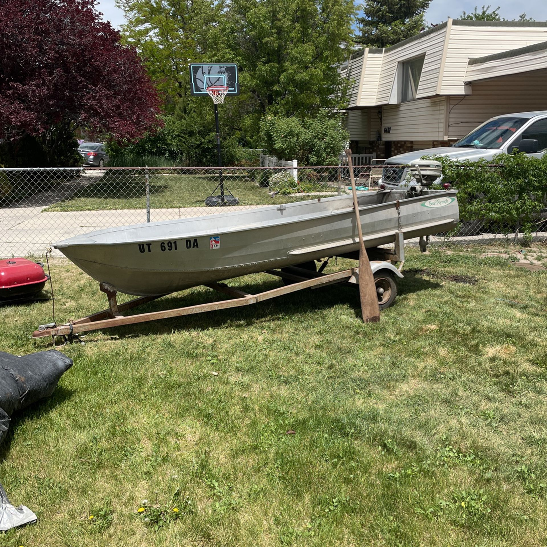 Photo Sea Nymph 14 Ft Aluminum Fishing Boat With Trailer