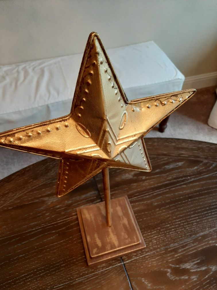 Metal Texas Star on Stand