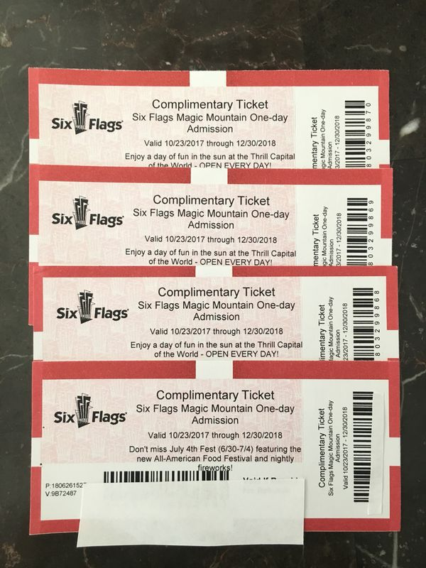4 Pack of Six Flags Magic Mountain Tickets! for Sale in Wildomar, CA -  OfferUp